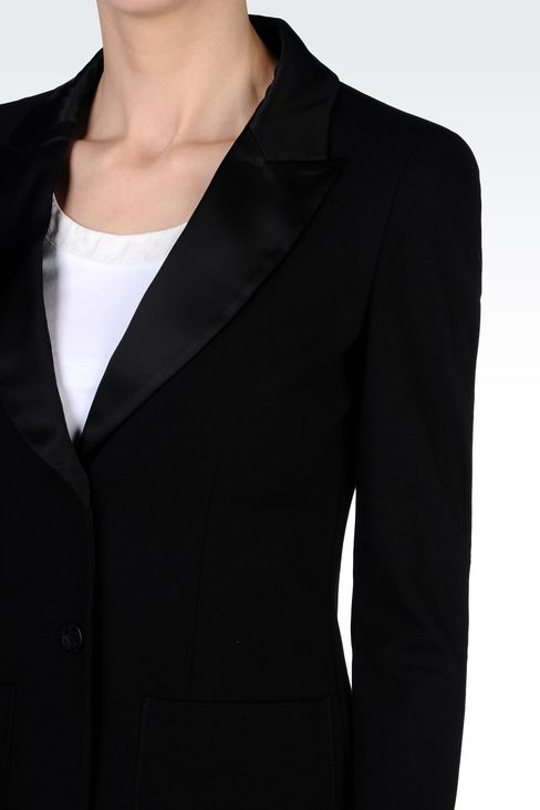 TUXEDO JACKET WITH SATIN LAPELS: Two buttons jackets Women by Armani - 4