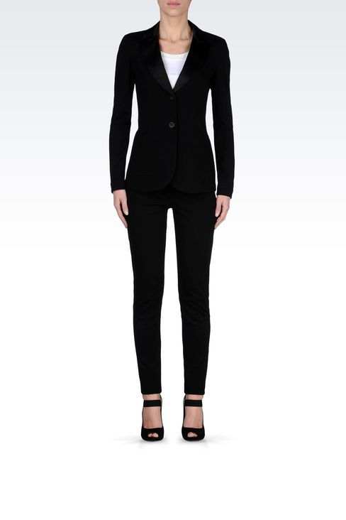 TUXEDO JACKET WITH SATIN LAPELS: Two buttons jackets Women by Armani - 1
