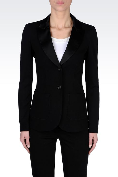 TUXEDO JACKET WITH SATIN LAPELS: Two buttons jackets Women by Armani - 2