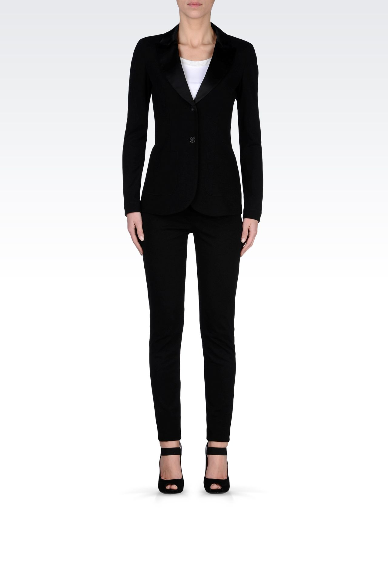 TUXEDO JACKET WITH SATIN LAPELS: Two buttons jackets Women by Armani - 0