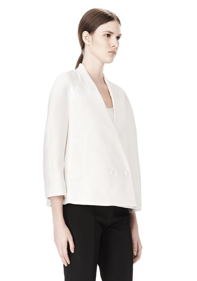 ALEXANDER WANG EXCLUSIVE CROPPED PEACOAT WITH SUSPENDED BACK JACKETS AND OUTERWEAR  Adult 12_n_a
