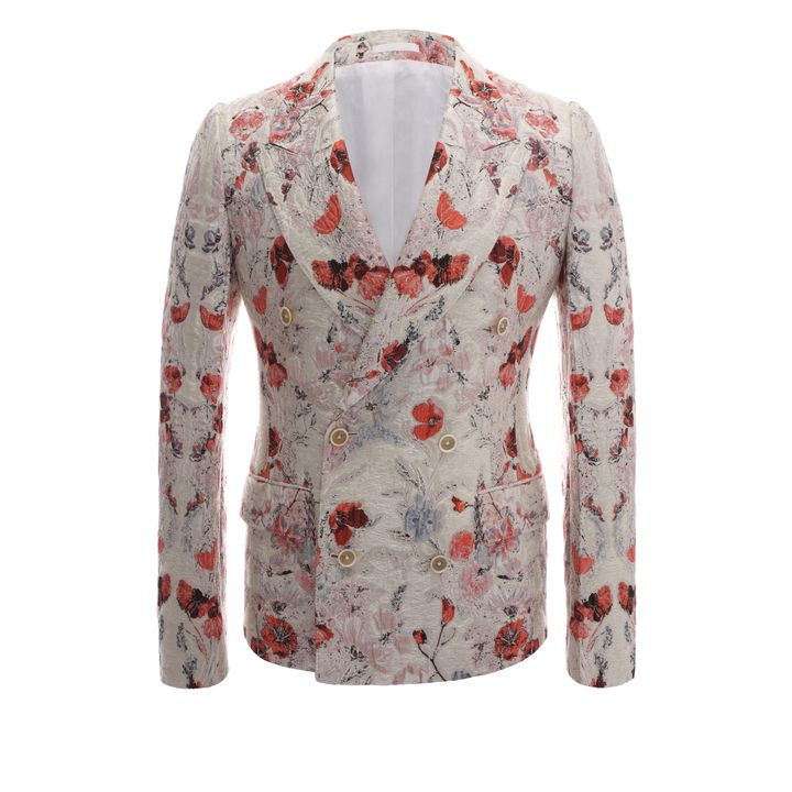 Alexander McQueen, Floral Jacquard Double Breasted Deconstructed Jacket
