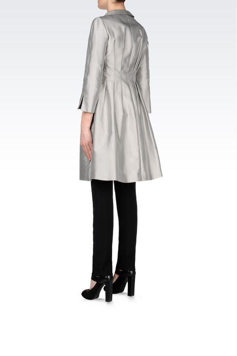 SINGLE-BREASTED MIKADO SILK COAT: Single-breasted coats Women by Armani - 3