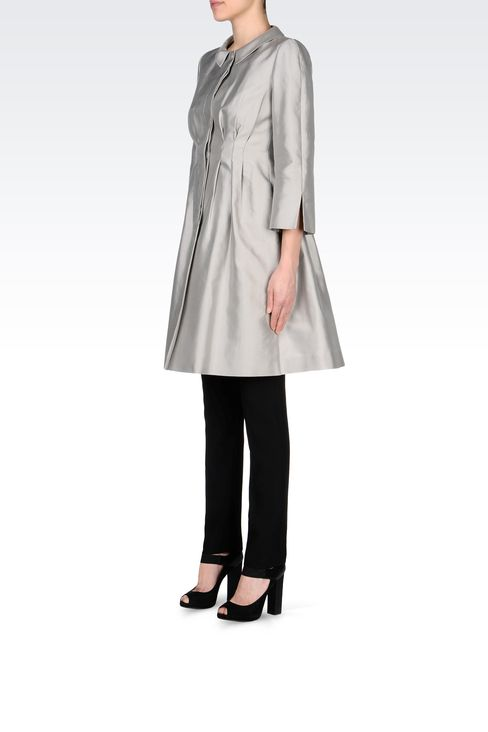 SINGLE-BREASTED MIKADO SILK COAT: Single-breasted coats Women by Armani - 2
