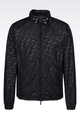 Armani Bomber jackets Men blouson in logo patterned technical fabric