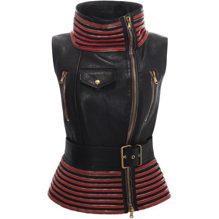Alexander McQueen, Zip Detail Sleeveless Leather Jacket