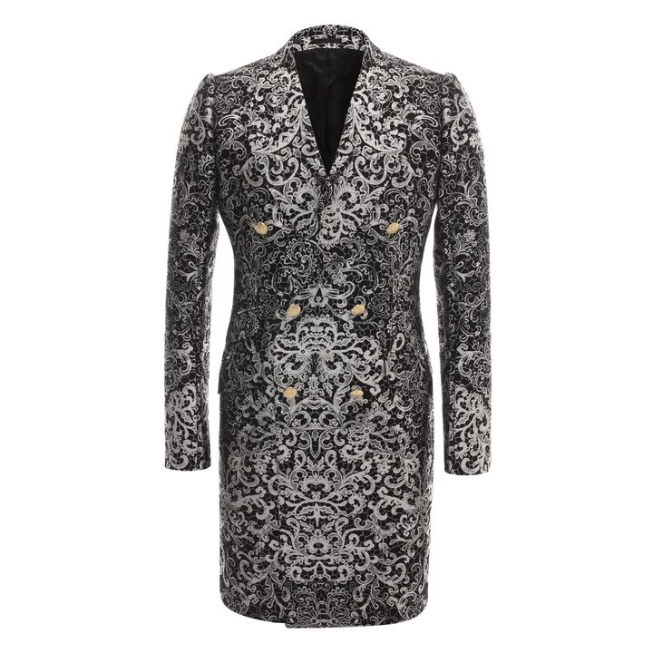 Alexander McQueen, Skull Lace Jacquard Double Breasted Jacket