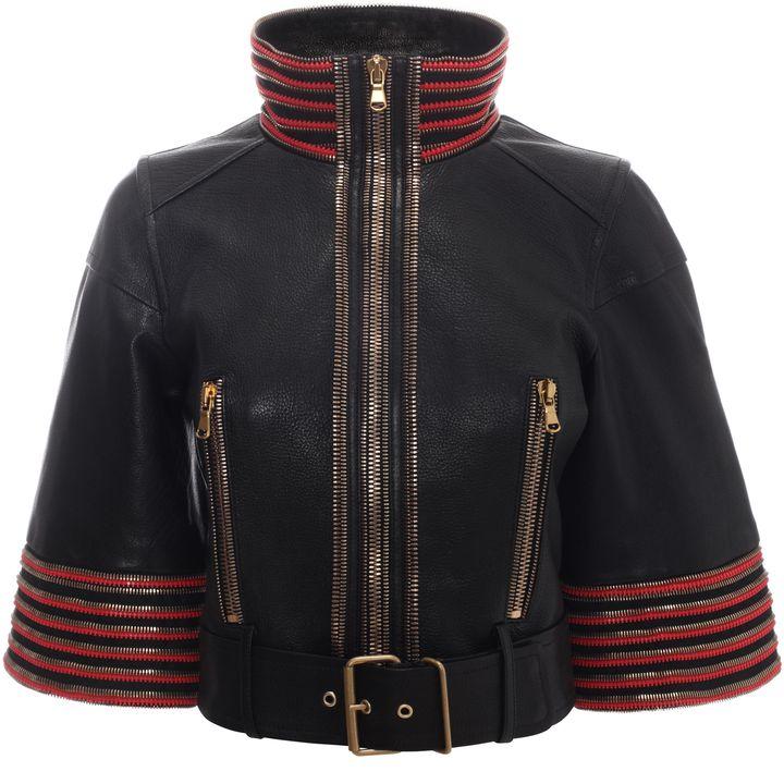 Alexander McQueen, Zip Detail Leather Jacket