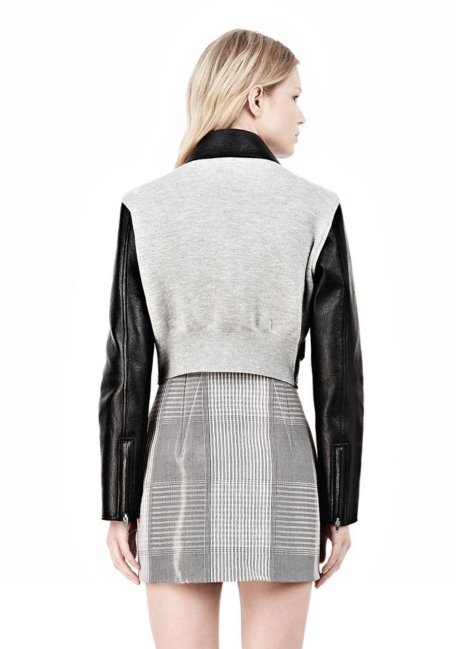 ALEXANDER WANG EXCLUSIVE BONDED ZIP FRONT JACKET WITH KNIT BACK Jacket Adult 12_n_d