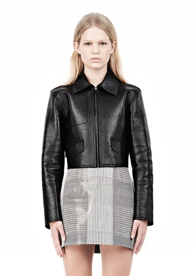 ALEXANDER WANG EXCLUSIVE BONDED ZIP FRONT JACKET WITH KNIT BACK Jacket Adult 12_n_e