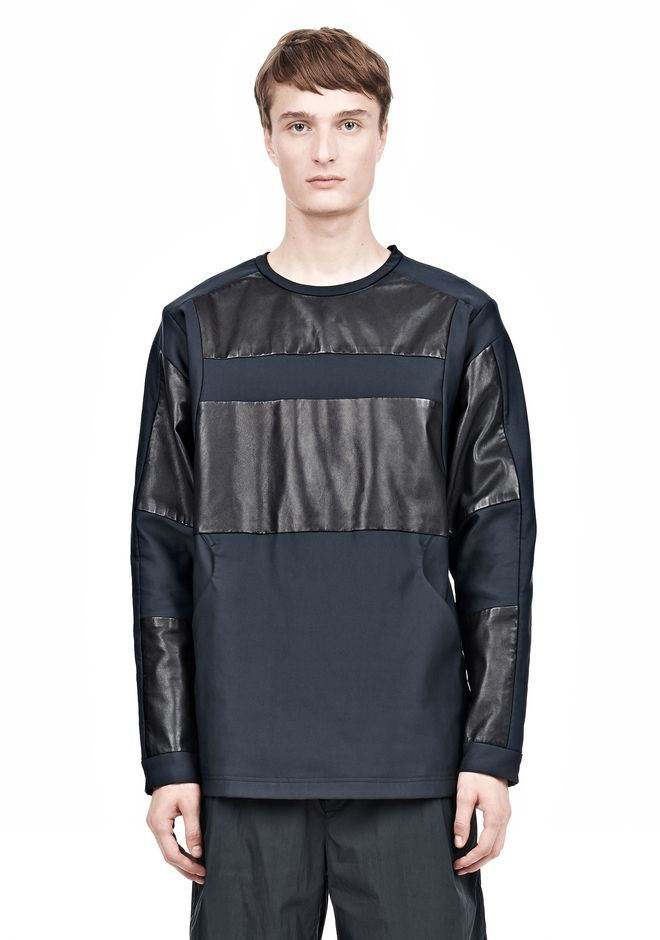 ALEXANDER WANG LEATHER PATCHWORK SWEATSHIRT LONG SLEEVE TEE Adult 12_n_a