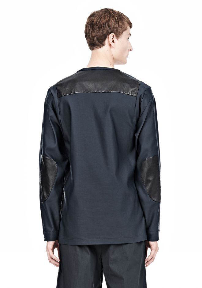 ALEXANDER WANG LEATHER PATCHWORK SWEATSHIRT LONG SLEEVE TEE Adult 12_n_d
