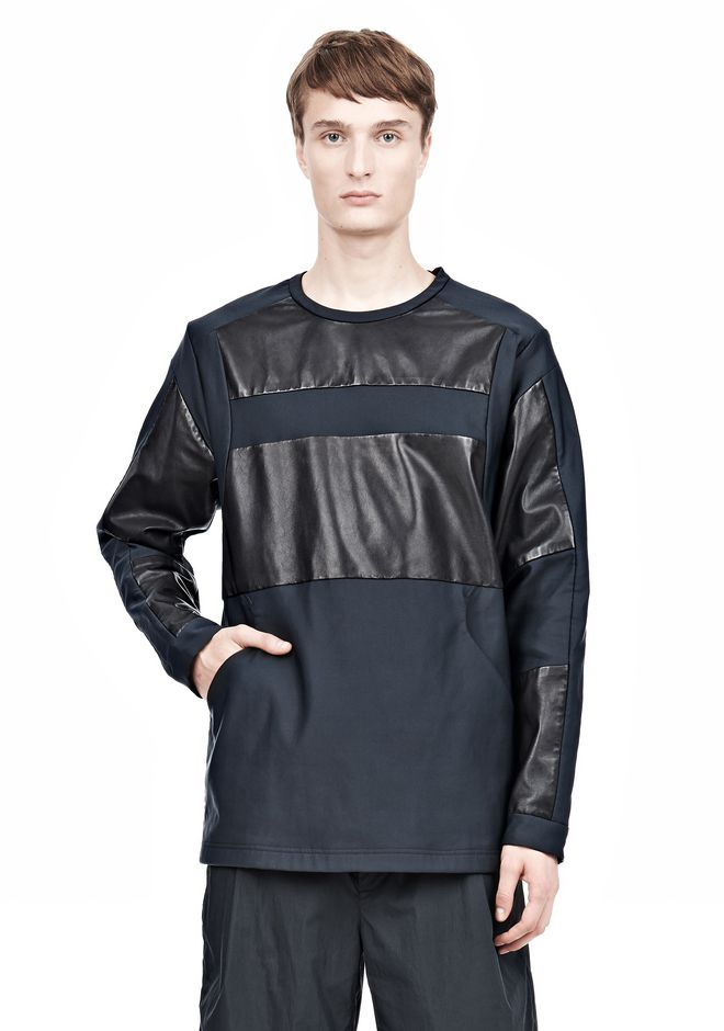 ALEXANDER WANG LEATHER PATCHWORK SWEATSHIRT LONG SLEEVE TEE Adult 12_n_e