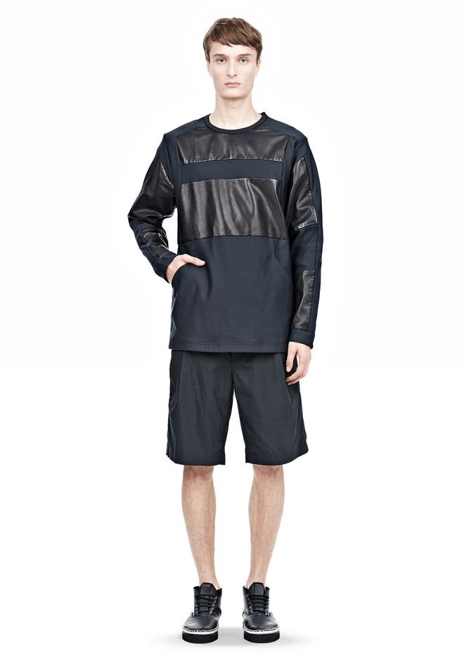 ALEXANDER WANG LEATHER PATCHWORK SWEATSHIRT LONG SLEEVE TEE Adult 12_n_f