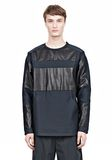 ALEXANDER WANG LEATHER PATCHWORK SWEATSHIRT LONG SLEEVE TEE Adult 8_n_a