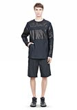 ALEXANDER WANG LEATHER PATCHWORK SWEATSHIRT LONG SLEEVE TEE Adult 8_n_f