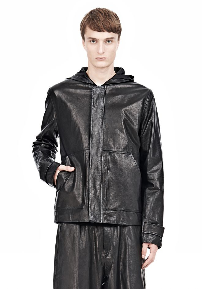 T by ALEXANDER WANG WASHED LEATHER HOODED JACKET Jacket Adult 12_n_e
