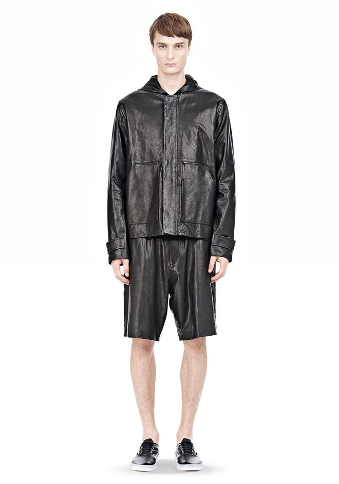 T by ALEXANDER WANG WASHED LEATHER HOODED JACKET