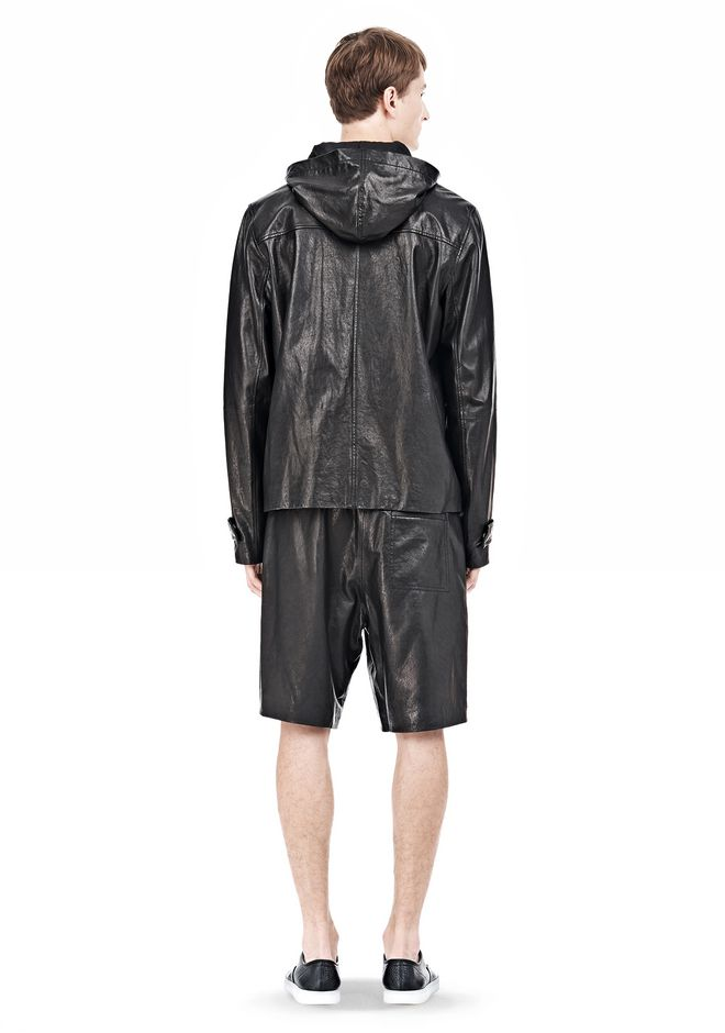 T by ALEXANDER WANG WASHED LEATHER HOODED JACKET Jacket Adult 12_n_r
