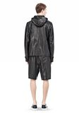 T by ALEXANDER WANG WASHED LEATHER HOODED JACKET Jacket Adult 8_n_r