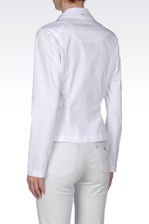 STRETCH COTTON GABARDINE JACKET: One button jackets Women by Armani - 3