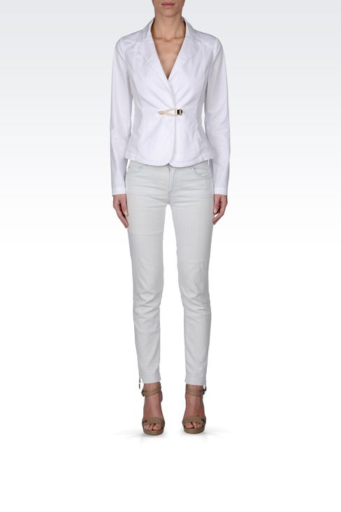 STRETCH COTTON GABARDINE JACKET: One button jackets Women by Armani - 1