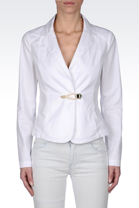STRETCH COTTON GABARDINE JACKET: One button jackets Women by Armani - 2