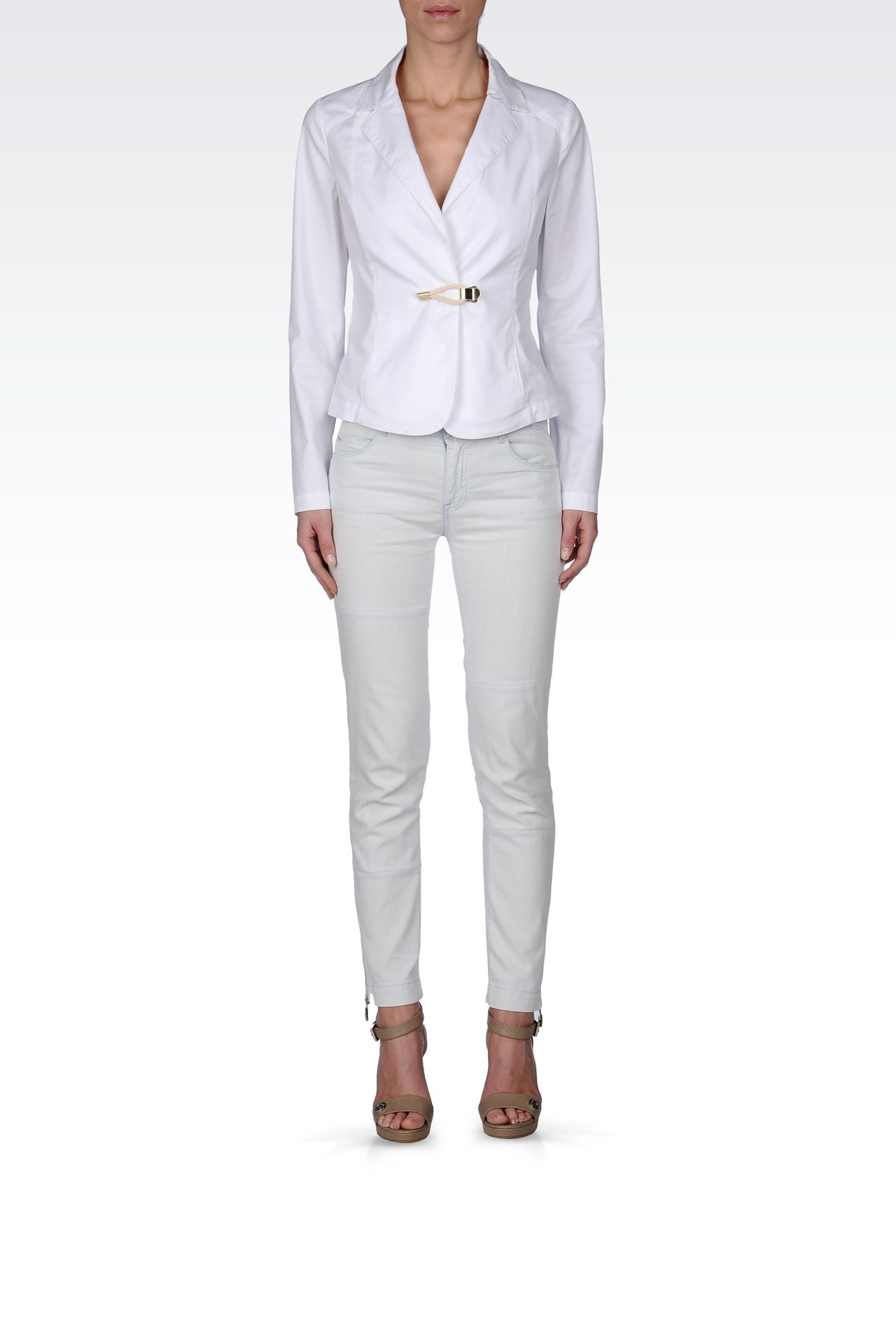 STRETCH COTTON GABARDINE JACKET: One button jackets Women by Armani - 0