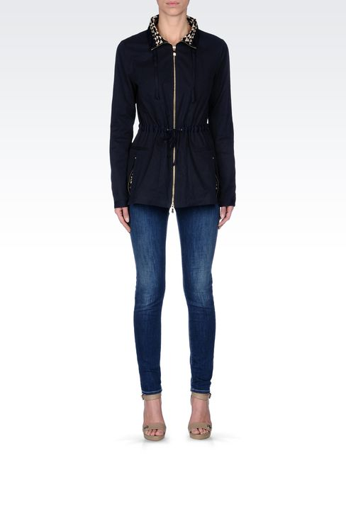 WATERPROOF PARKA WITH CONTRASTING INTERIOR: Parkas Women by Armani - 1