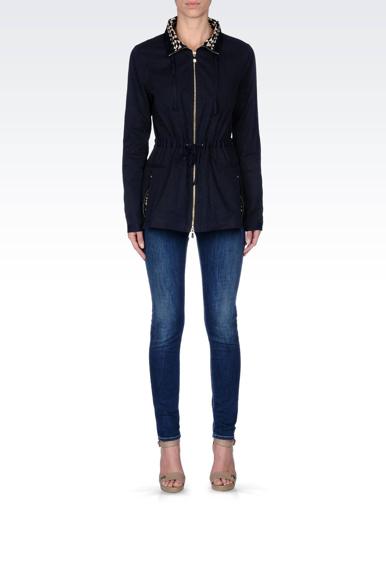 WATERPROOF PARKA WITH CONTRASTING INTERIOR: Parkas Women by Armani - 0