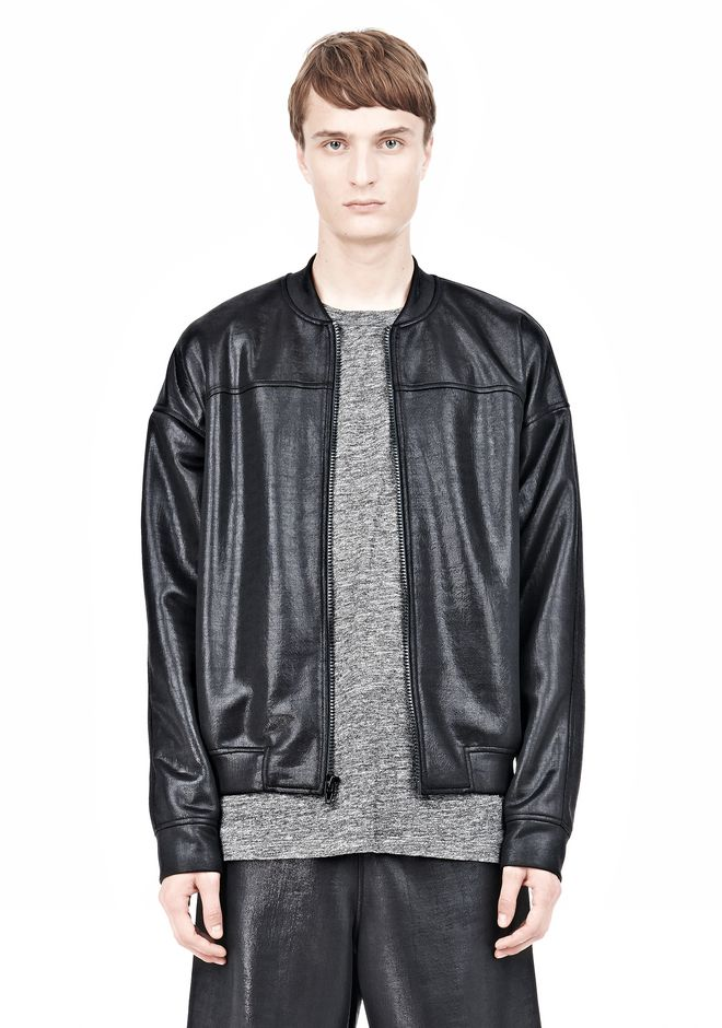 T by ALEXANDER WANG SHINY DOUBLE FACE KNIT BOMBER JACKET JACKETS AND OUTERWEAR  Adult 12_n_a