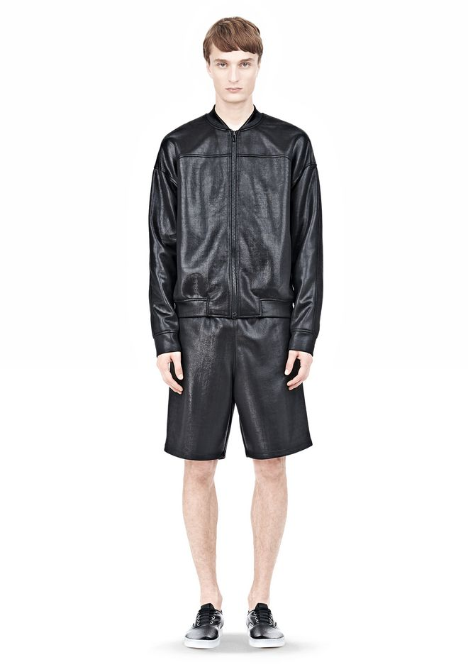 T by ALEXANDER WANG SHINY DOUBLE FACE KNIT BOMBER JACKET JACKETS AND OUTERWEAR  Adult 12_n_f
