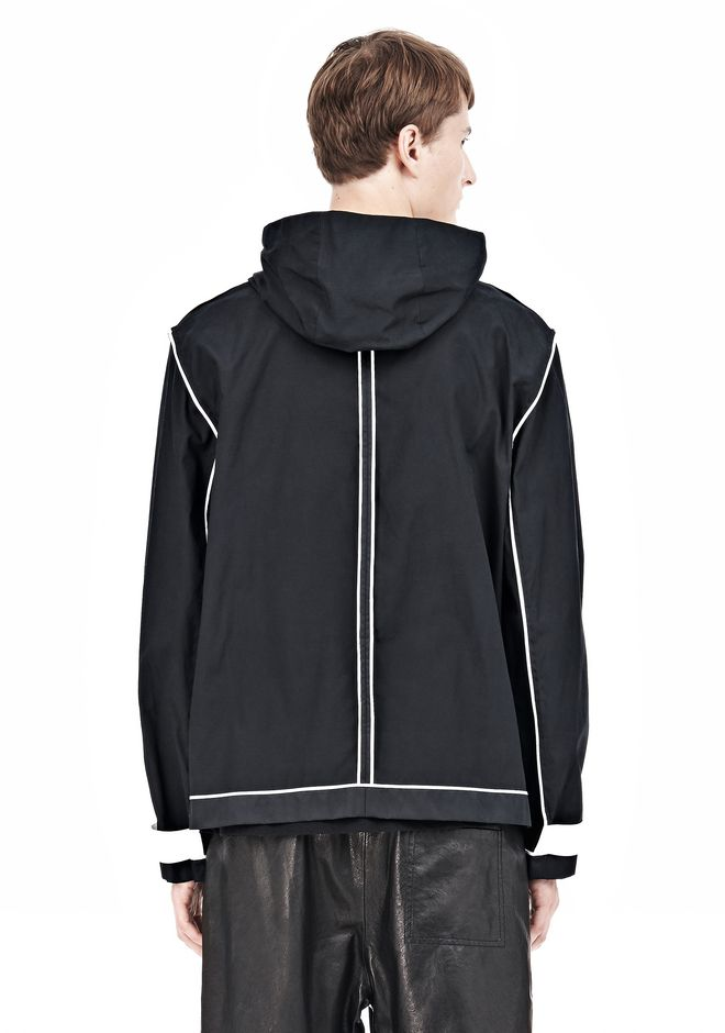 WAX COTTON INSIDE OUT HOODED JACKET