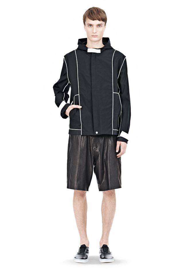 T by ALEXANDER WANG WAX COTTON INSIDE OUT HOODED JACKET