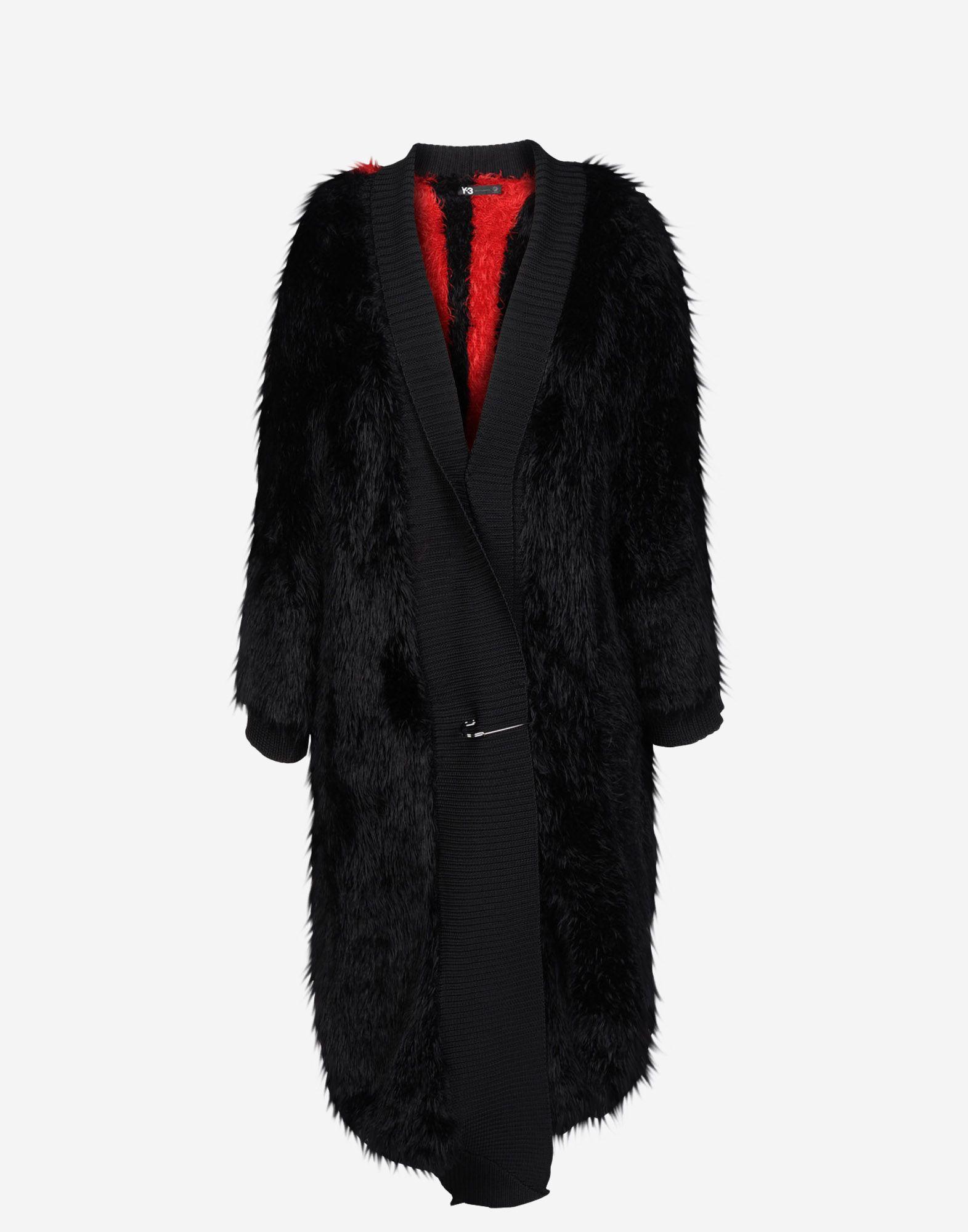 Coats Y 3 Fur Knit Coat for Women