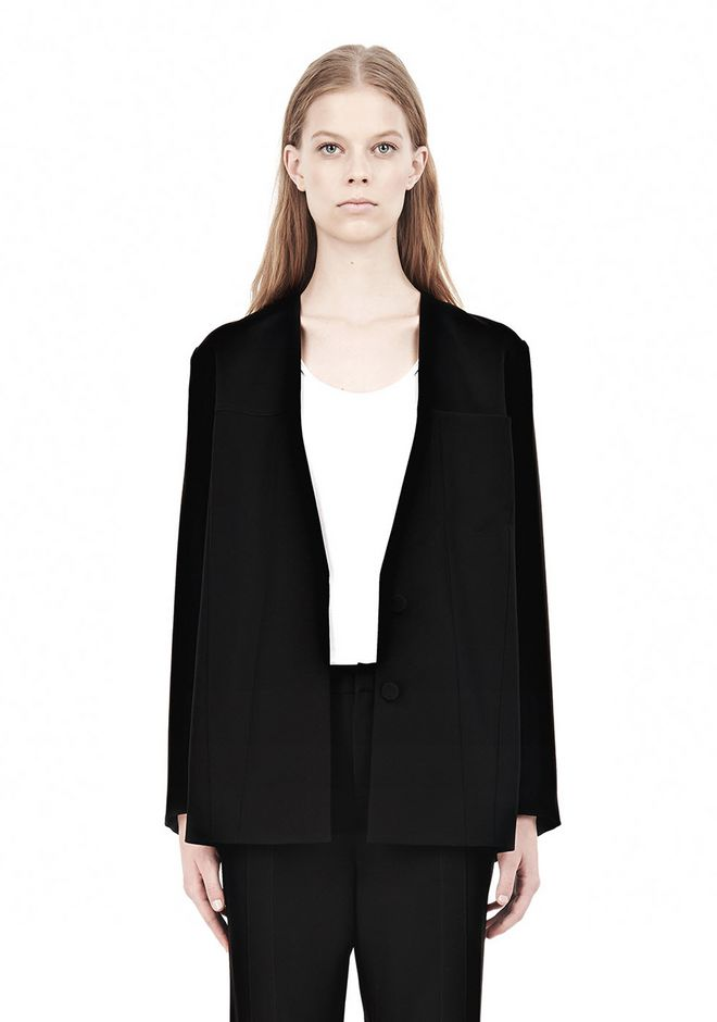T by ALEXANDER WANG DRAPED SUITING COLLARLESS  BLAZER JACKETS AND OUTERWEAR  Adult 12_n_a