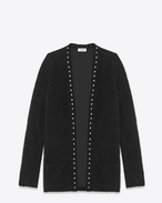 Studded Cardigan in Black Mohair wool and Silver-Toned Studs