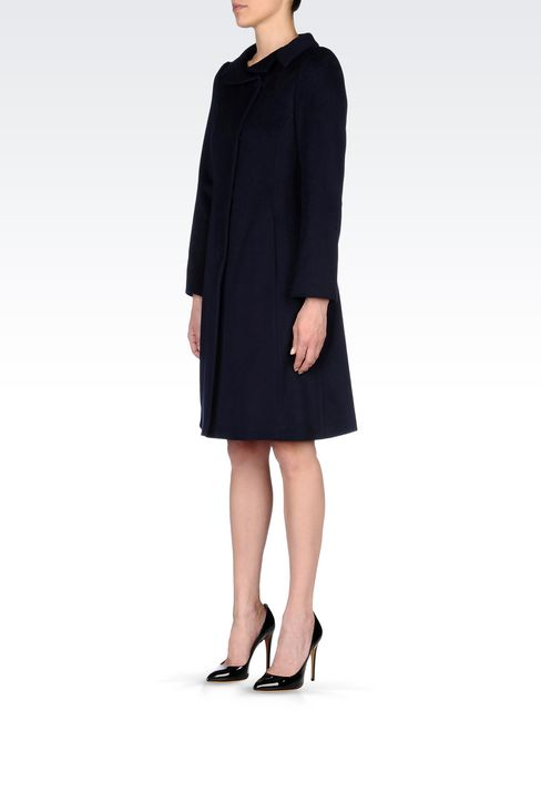 DOUBLE-BREASTED COAT IN WOOL BROADCLOTH: Single-breasted coats Women by Armani - 3