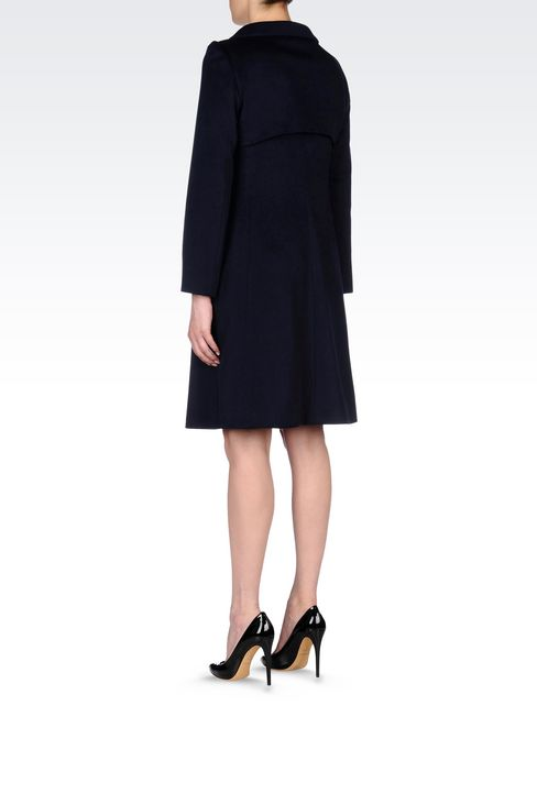 DOUBLE-BREASTED COAT IN WOOL BROADCLOTH: Single-breasted coats Women by Armani - 4