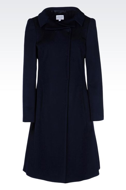 DOUBLE-BREASTED COAT IN WOOL BROADCLOTH: Single-breasted coats Women by Armani - 1