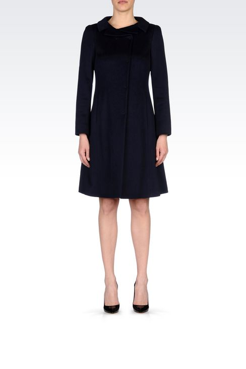 DOUBLE-BREASTED COAT IN WOOL BROADCLOTH: Single-breasted coats Women by Armani - 2