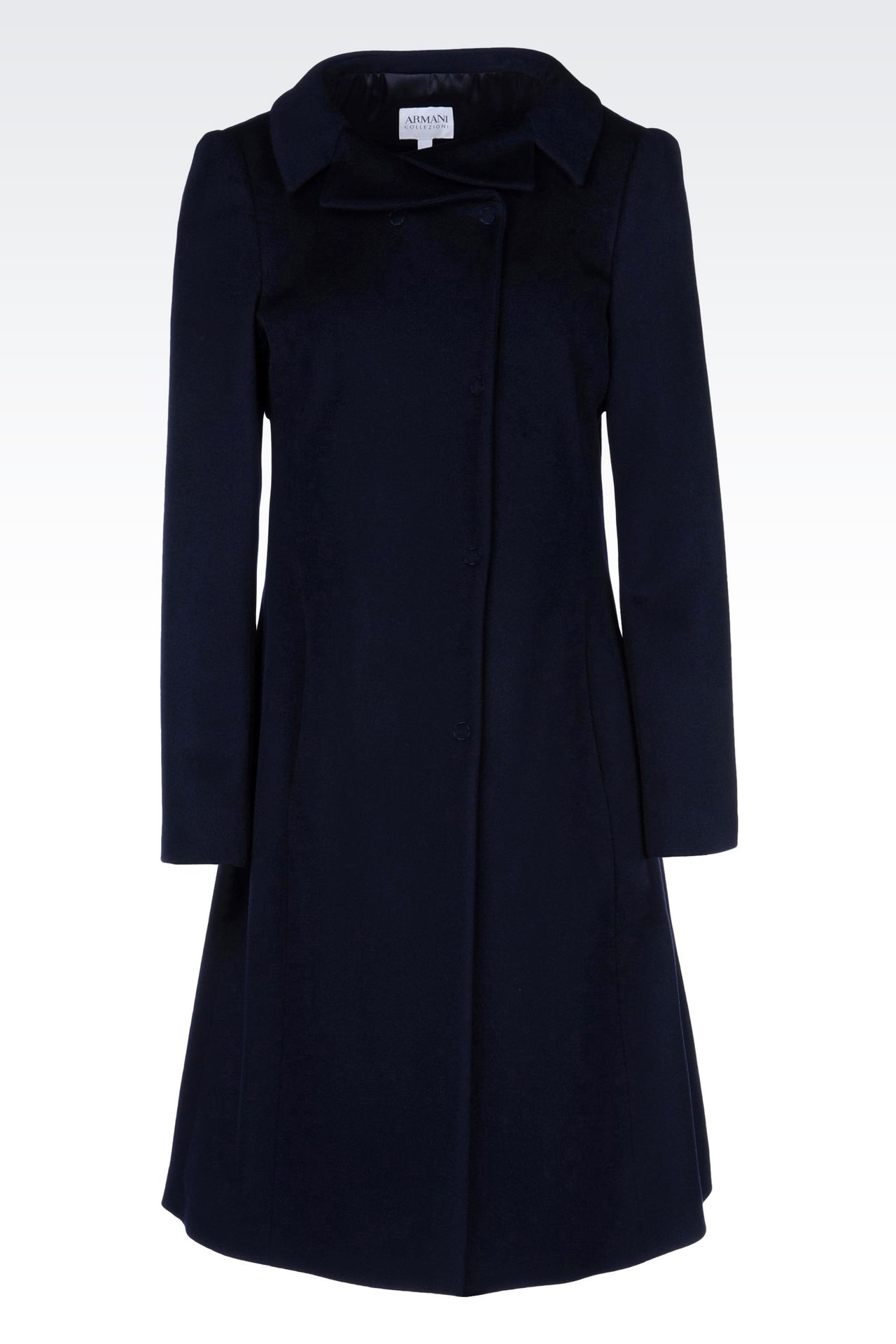 DOUBLE-BREASTED COAT IN WOOL BROADCLOTH: Single-breasted coats Women by Armani - 0