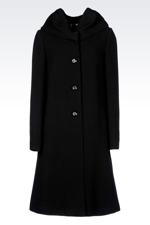 SINGLE-BREASTED COAT IN WOOL BLEND: Single-breasted coats Women by Armani - 1