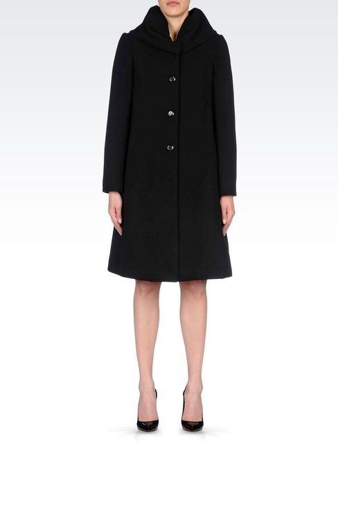 SINGLE-BREASTED COAT IN WOOL BLEND: Single-breasted coats Women by Armani - 2