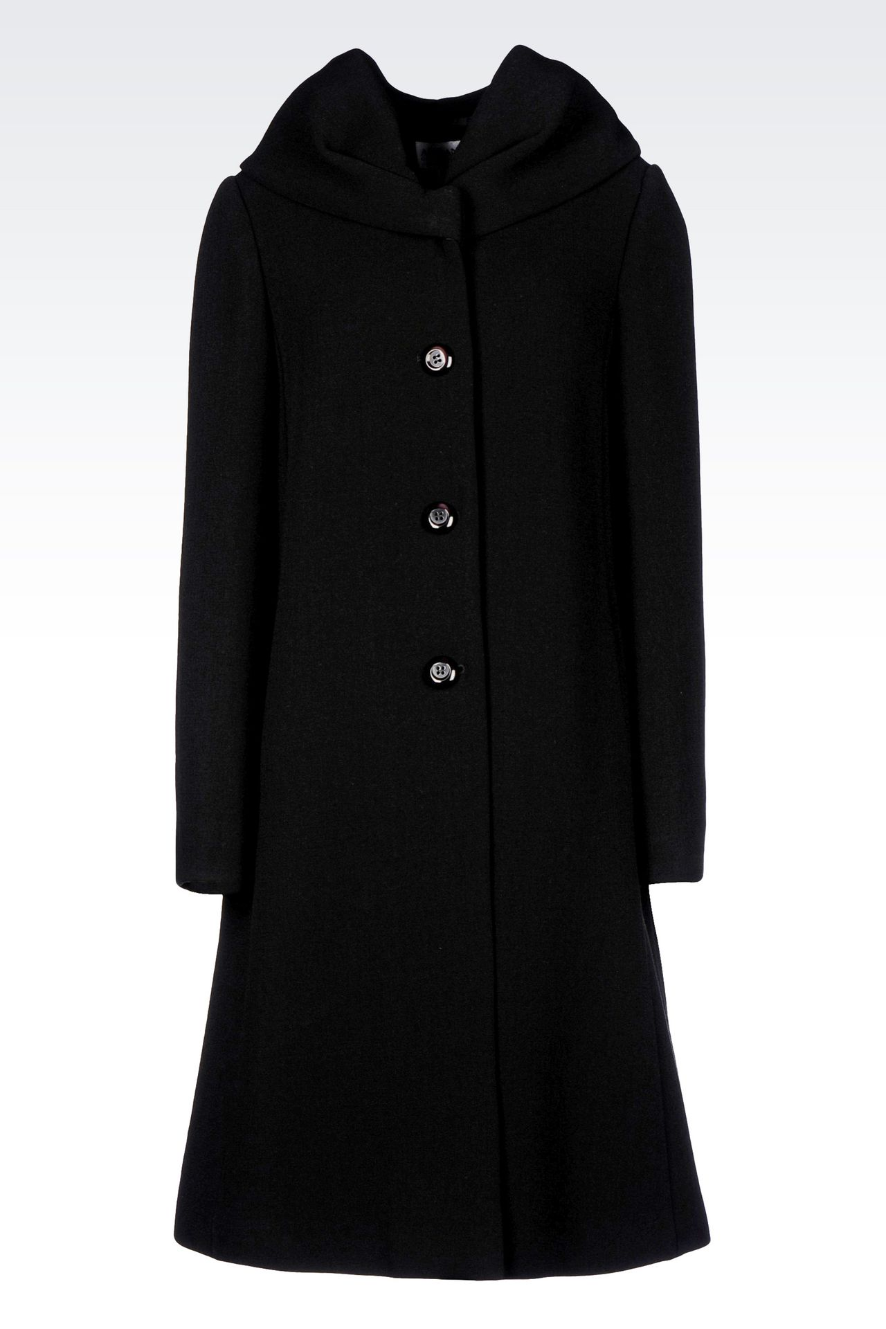 SINGLE-BREASTED COAT IN WOOL BLEND: Single-breasted coats Women by Armani - 0