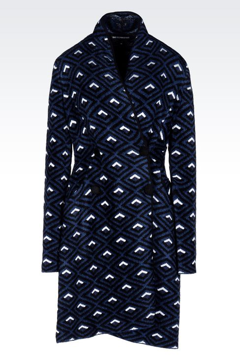 DOUBLE-BREASTED COAT IN JACQUARD CHENILLE: Single-breasted coats Women by Armani - 1
