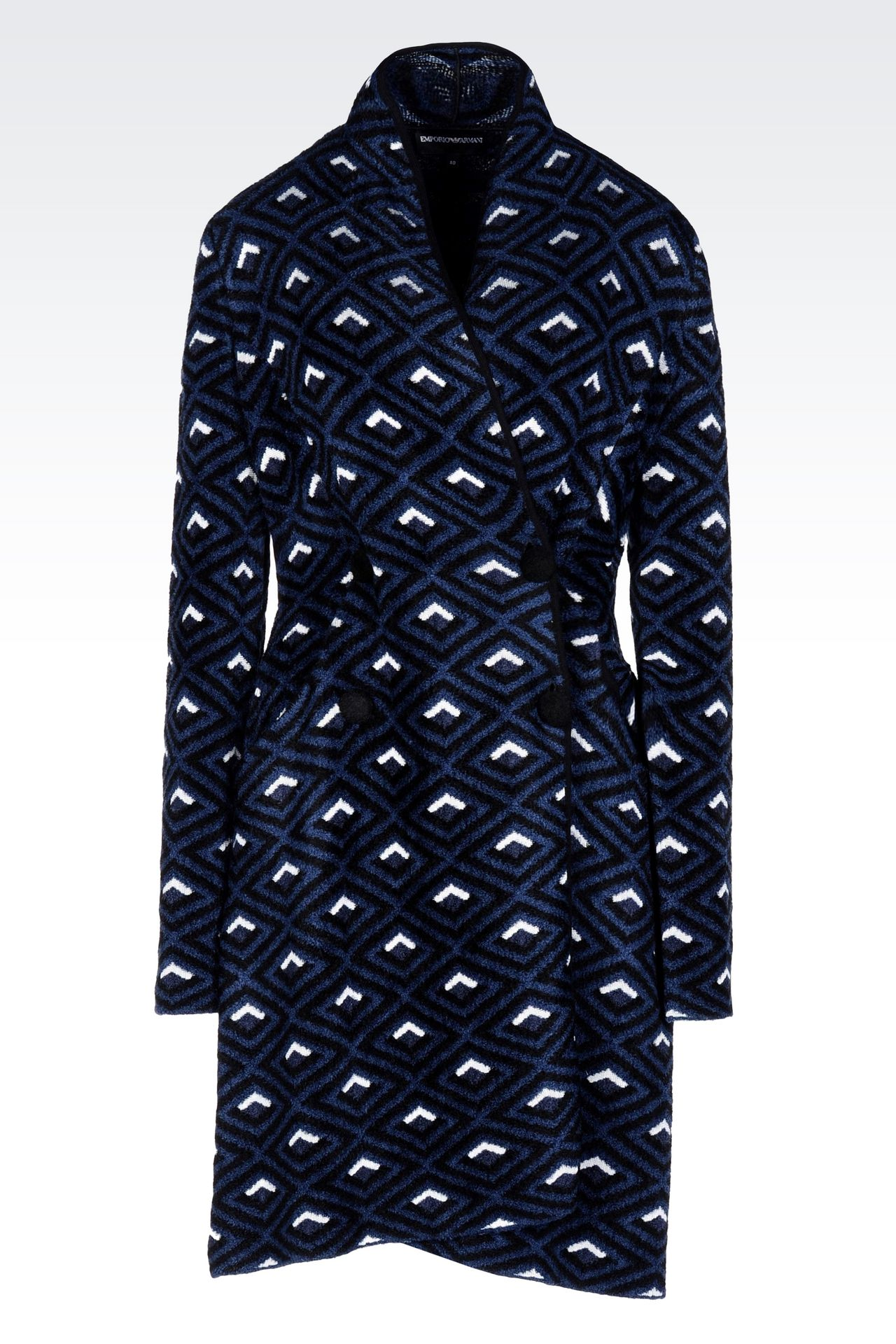 DOUBLE-BREASTED COAT IN JACQUARD CHENILLE: Single-breasted coats Women by Armani - 0