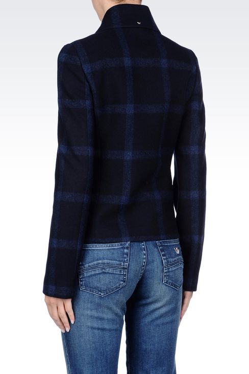 PEA COAT IN CHECKED WOOL BLEND: Dust jackets Women by Armani - 4