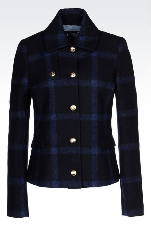 PEA COAT IN CHECKED WOOL BLEND: Dust jackets Women by Armani - 1