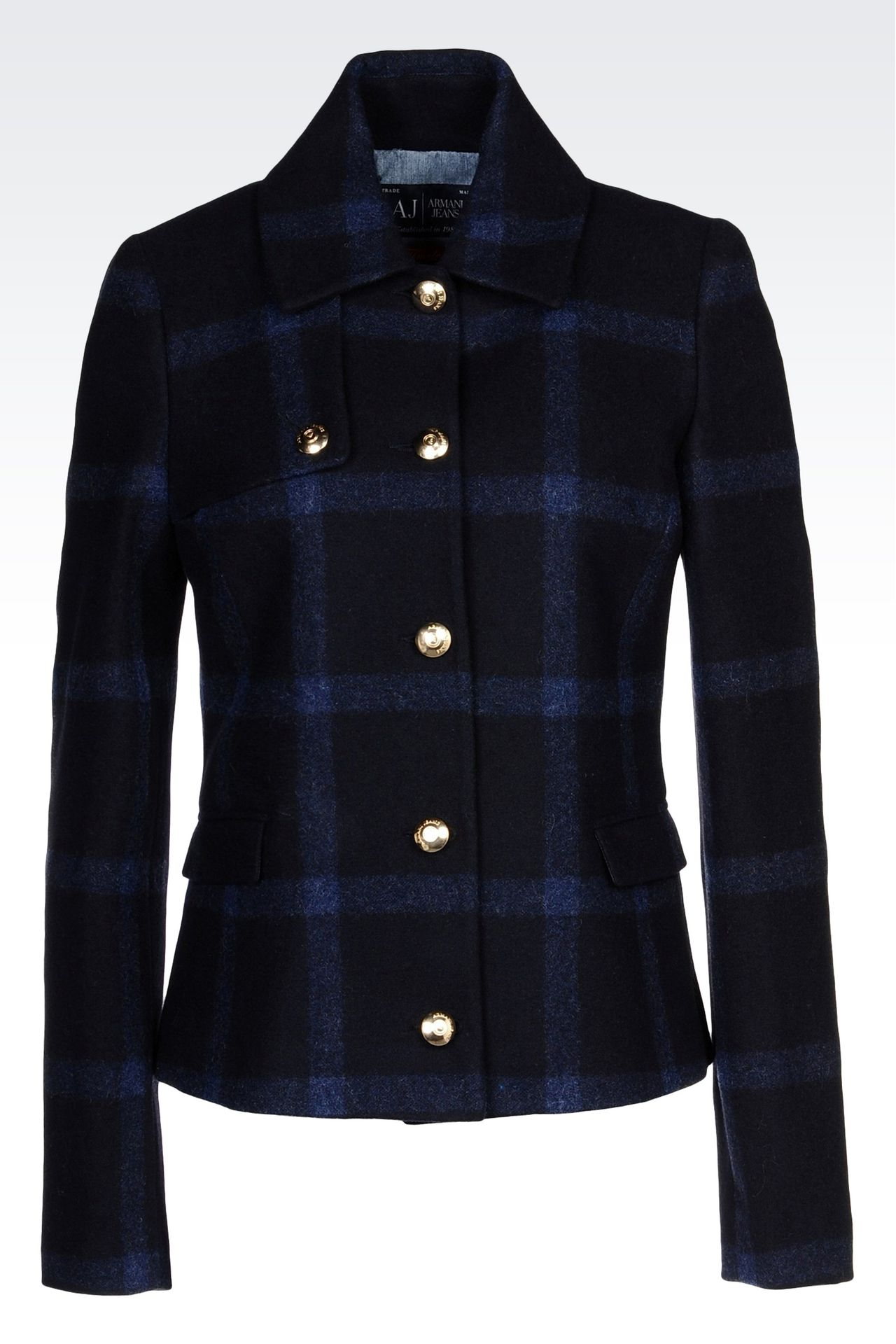 PEA COAT IN CHECKED WOOL BLEND: Dust jackets Women by Armani - 0